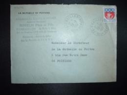 LETTRE TP BLASON PARIS 0,30 OBL. Tiretée 28-10 1967 79 PRAILLES DEUX-SEVRES (79) LA MUTUELLE DE POITIERS ROBELIN Père Et - Cachets Manuels