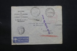 """BELGIQUE - Griffe """" Pas De Service Via Israël """" Sur Enveloppe De Ministère Pour Le Consul à Alexandrie En 1950 - L 43390 - Bélgica"""
