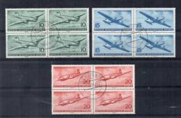 Germania - DDR - 1956 - Deutsche Lufthansa - 3 Quartine - Usate - (FDC17452) - Aerei