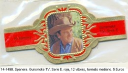 Vitolas Spanera. Gunsmoke Serie TV. Serie E. Roja. FM. Ref. 14-1490 - Bagues De Cigares