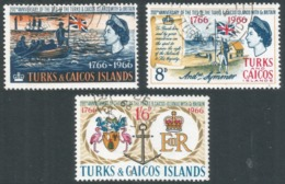 """Turks & Caicos Islands. 1966 Bicentenary Of """"Ties With Britain"""". Used Complete Set. SG 268-270 - Turks And Caicos"""