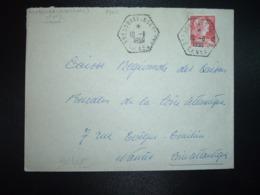 LETTRE TP M. DE MULLER 25F OBL. HEXAGONALE Tiretée 10-8 1959 BRESSUIRE (D-SEVRES) CP N°4 + Expéditeur (CORRESPONDANT PO - Cachets Manuels