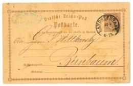 Deutsche Reichs-Post, Postkarte, Landsberg A. W. 1873 Nach Birnbaum - Preussen