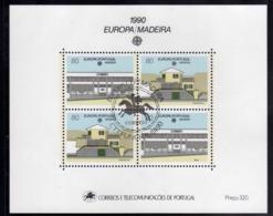MADERA MADEIRA 1990 EUROPA CEPT BLOCK SHEET BLOCCO FOGLIETTO FIRST DAY SPECIAL CANCEL FDC - Madeira