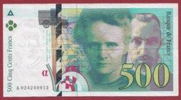 """500 Francs """"Pierre Et Marie Curie """" 1994 --F/TTB+  ----ALPH.A.-- Numéro 024240913 - 500 F 1994-2000 ''Pierre Et Marie Curie''"""