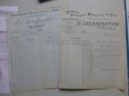 Photographies Microscopiques Sur Verre LECARPENTIER, Paris, Lot 2 Factures1909, Ref 708 ; PAP07 - France