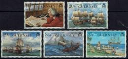 Großbritannien-Guernsey 1990 - Weltumseglung Von Lord Ansons Flotte - MiNr 492-496** - Guernsey