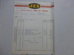 JOUET JEX Facture Illustrée 1953 Pour La Bourboule Ref 712 ; PAP07 - Frankreich