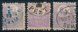 O 1871 Kőnyomat 25kr 3 Szép Bélyeg, Különböző Színárnyalatok és Bélyegzések  (~180.000) - Sellos