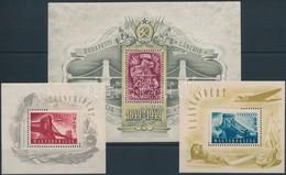 ** 1948-1949 Lánchíd I-II-III Blokkok (140.000) (ráncok / Creases) - Sellos