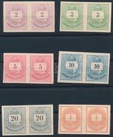 (*) 1874 Színes Számú Krajcáros + Hírlapbélyeg, Fogazatlan Próbanyomatok Kartonpapíron, 6 Klf érték Párokban, Rendkívül  - Sellos