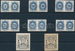 (*) 1874 Távirda Sor, Fogazatlan Próbanyomatok Kartonpapíron, A Krajcáros értékek Párokban + A 2 Záróérték / Telegraph S - Sellos
