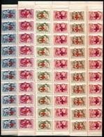 ** 1957 Vöröskereszt 100 Sor Hajtott Teljes ívekben (90.000) / Mi 1482-1487 Folded Complete Sheets Of 100 (gyártási Ránc - Sellos