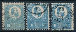 O 1871 Kőnyomat 10kr 3 Db Színváltozat, Tipusok (min. 80.000) - Sellos