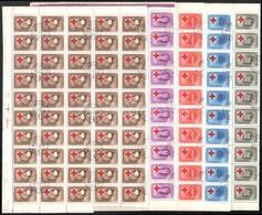 O 1957 Postáskórház 50-es és 100-as ívekben, Az Ismert 6 Db Lemezhibával (65.000) - Sellos