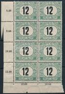 ** 1908 Zöldportó 12f ívsarki Nyolcastömb (64.000) (2 Bélyeg Ráncos / Creases On 2 Stamps) - Sellos