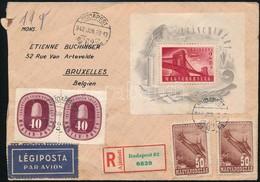 1948 Ajánlott Légi Levél Lánchíd Blokkal Bérmentesítve Belgiumba (8000 P+) - Sellos
