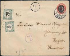 1915 Levél Dániából Zágrábba 5f + 20f Portóval - Sellos