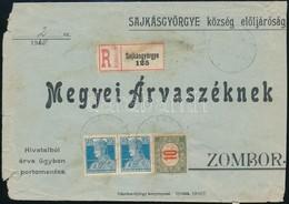 SHS 1920 Károly és Portóbélyegekkel Bérmentesített Ajánlott Levél Sajkásgyörgyéről Zomborba - Sellos
