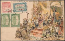 1918 Milleniumi Díjjegyes Levelezőlap Rendkívül érdekes Késői Felhasználása Megfelelő Repülő Posta és Kiegészítő Bérment - Sellos
