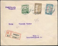 1918.07.06. Ajánlott Légi Levél Bécsbe 1K50f Repülő Posta Bélyeggel + 2,05K Díjkiegészítéssel / Registered Airmail Cover - Sellos