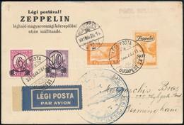 1931 Zeppelin Magyarországi Körrepülés Levelezőlap Zeppelin 1P Bélyeggel, Debreceni Ledobással - Sellos