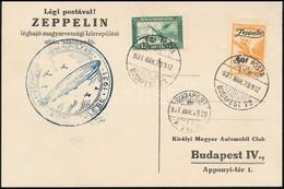 1931 Zeppelin Magyarországi Körrepülés Levelezőlap Zeppelin 1P Bélyeggel - Sellos