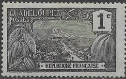 GUADELOUPE 1905 Mount Houllemont, Basse-Terre - 1c - Black On Blue MH - Unused Stamps