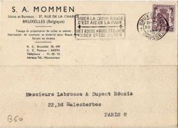 B60bis Belgique Lettre De S. A. Mommen Du 20-01-1949 Avec Flamme, Cachet Poste. Postée à Bruxelles En Belgique - Flammes