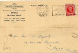 B62 Belgique Lettre De Thomas Meadows & Co Du 01-05-1931 Avec Flamme, Cachet Poste. Postée à Anvers En Belgique - Flammes