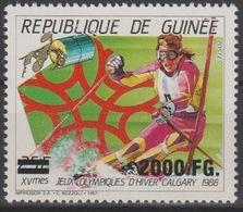 Guinée Guinea 2009 Mi. 6761 Surchargé Overprint Winter Olympic Games Calgary 1988 Vancouver 2010 Jeux Olympiques Ski - Winter 2010: Vancouver