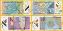 Macedonia Set 10 & 50 Denari P-25 & 26 2018 UNC Polymer Banknotes - Macedonia