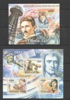 TG1054 2011 TOGO TOGOLAISE FAMOUS PEOPLE GREAT PHYSICISTS TESLA NEWTON COPERNICUS KB+BL MNH - Physics