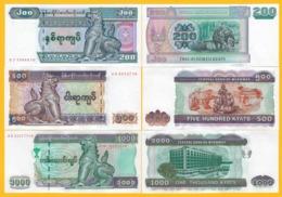 Myanmar Set 200, 500, 1000 Kyats P-78, 79, 80 ND (2004-2012) UNC Banknotes - Myanmar
