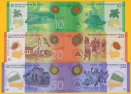 Nicaragua Set 10, 20, 50 Cordobas P-209, 210, 211 2014 UNC Polymer Banknotes - Nicaragua