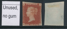 GB, 1841 1d Imperf Red-brown Unused No Gum, SG8, Cat £600 - Unused Stamps