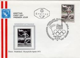 FDC - öst. Fackellauf Olympische Spiele München  1972 Ersttag - FDC