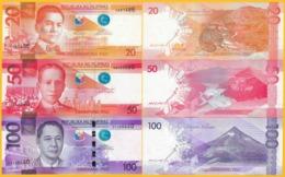Philippines Set 20, 50, 100 Piso 2017 UNC Banknotes - Philippines