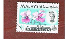 MALESIA: KELANTAN (MALAYSIA) -  SG 103 -  1965   FLOWERS: VANDA HOOKERIANA       - USED ° - Malesia (1964-...)