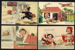 """4 X Postais COMICOS Portugueses """"CASA Das CANETAS"""" Edição LIT.VALERIO Lisboa. Set Of 4 Vintage COMIC Postcards PORTUGAL - Portugal"""