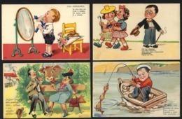 Conjunto De 4 Postais COMICOS Portugueses. Edição LIT.VALERIO / RF Lisboa. Set Of 4 Vintage COMIC Postcards PORTUGAL - Portugal