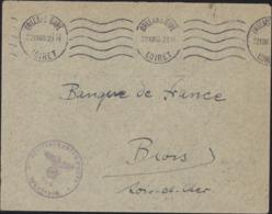Guerre 39 Collaboration économique Banque De France Blois Occupation Orléans Gare 22 XII 40 Cacichet Aigle Allemagne N6 - Marcofilia (sobres)