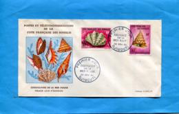Cote Française Des Somalis-enveloppe Illustrée-F D C  24 NOV 1962-coquillages De La Mer Rouge-2 Stamps N°312-3 - Côte Française Des Somalis (1894-1967)