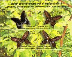 5X INDIA 2008 Butterfly; Miniature Sheet, MINT - India