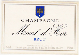 Etiquette Champagne  BRUT / Mont D'Hor / Lemaire (51) ST-THIERRY / 750 Ml - Champagne