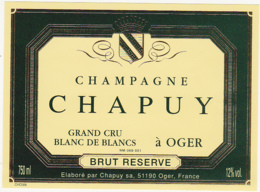 Etiquette Champagne  BRUT RESERVE GRAND CRU BLANC DE BLANCS / Chapuy Sa. (51) OGER / 750 Ml - Champagne