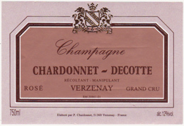 Etiquette Champagne  ROSE GRAND CRU / CHARDONNET - DECOTTE (51) VERZENAY / 750 Ml - Champagne