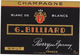 Etiquette Champagne  BRUT BLANC DE BLANCS / G. BILLIARD (51) PIERRY / 75 Cl - Champagne