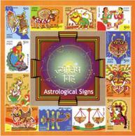 5X INDIA 2010 Astrological Signs; Miniature Sheet, MINT - Unused Stamps