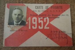 1952 RATP (Bus, Métro) Carte De Priorité, Grand Mutilé De Guerre Et Son Assistant, Rousseau Lucien, Deuil Seine Et Oise - Otros